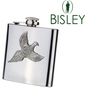 Bisley 6oz Stainless Steel Hip Flask with Pewter Pheasant in Presentation Box